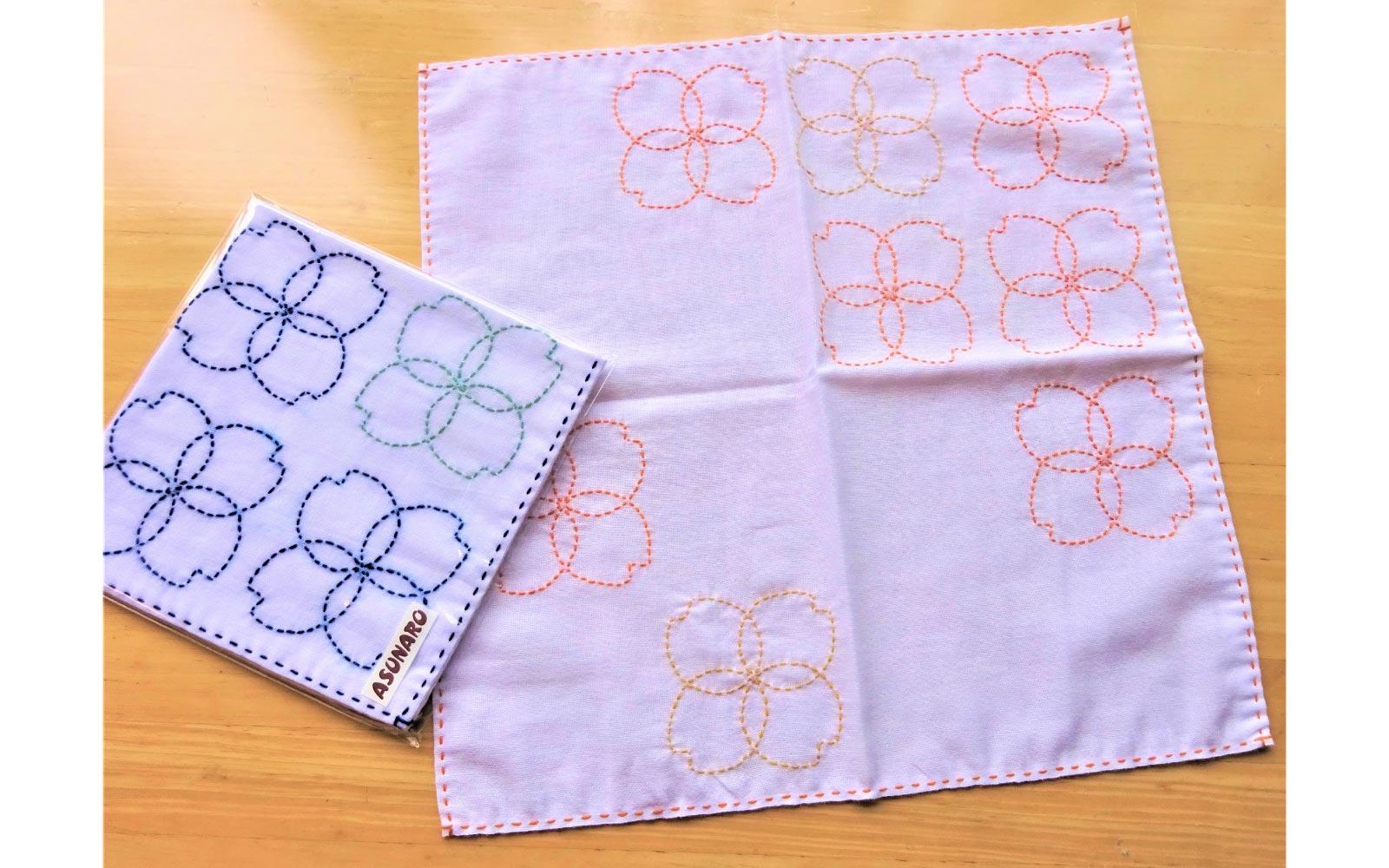 刺し子の花布巾(桜)