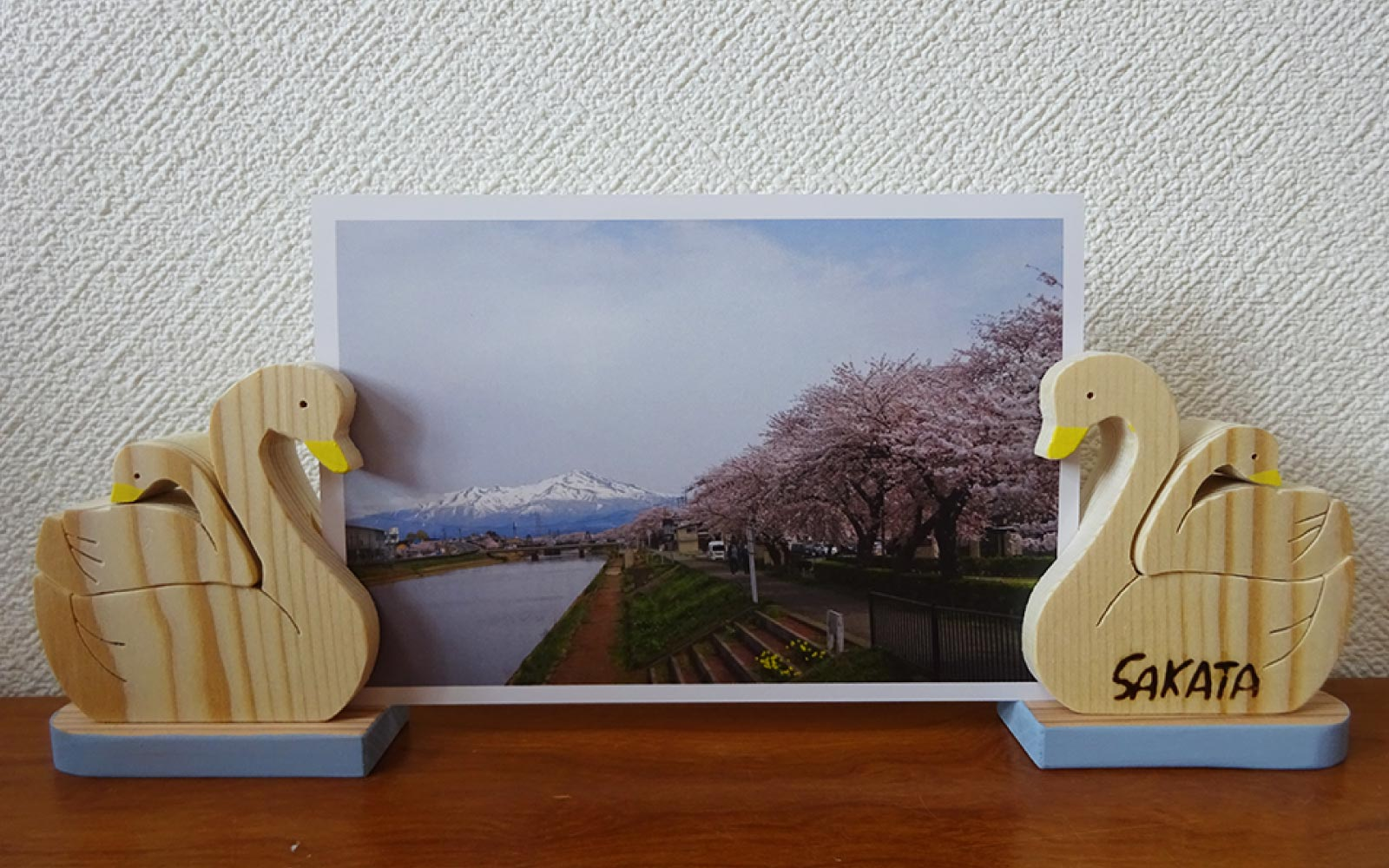 白鳥の写真立て ブルー