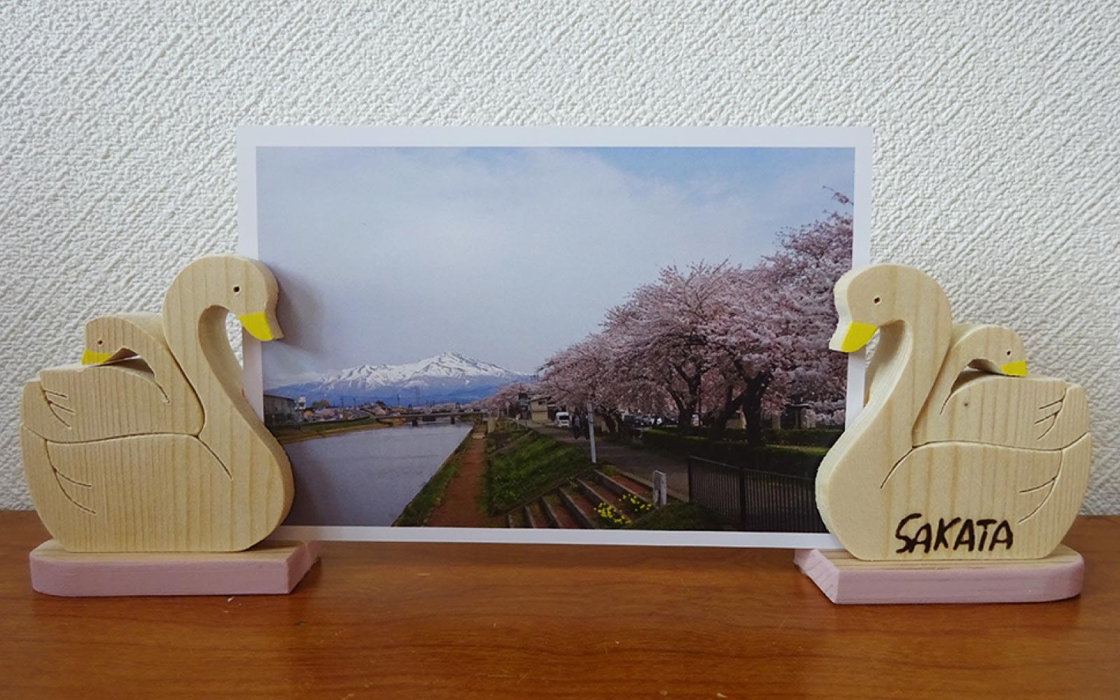白鳥の写真立て ピンク